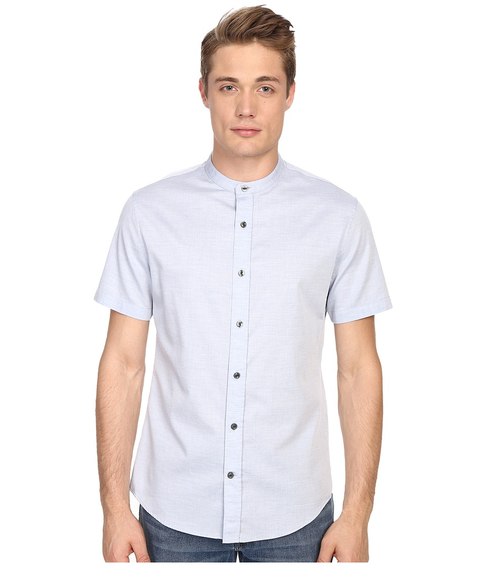 Vince - Melange Banded Collar Short Sleeve Melrose Shirt (Heather Colony Blue) Men's Short Sleeve Button Up