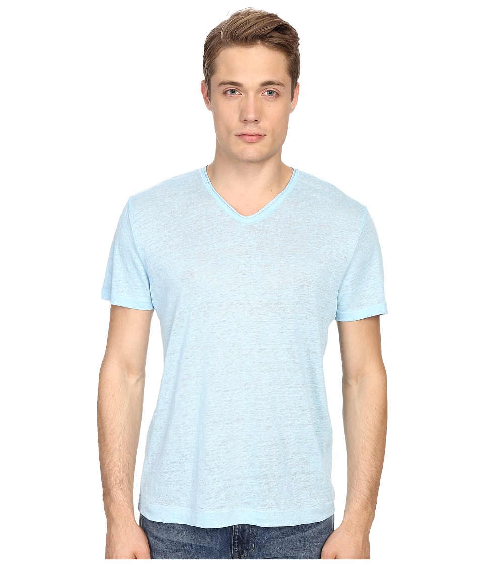 Vince - Linen Jersey Short Sleeve V-Neck (Aquamarine) Men's T Shirt