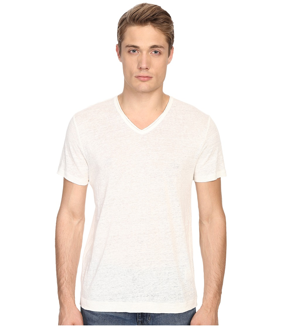 Vince - Linen Jersey Short Sleeve V-Neck (Linen White) Men's T Shirt