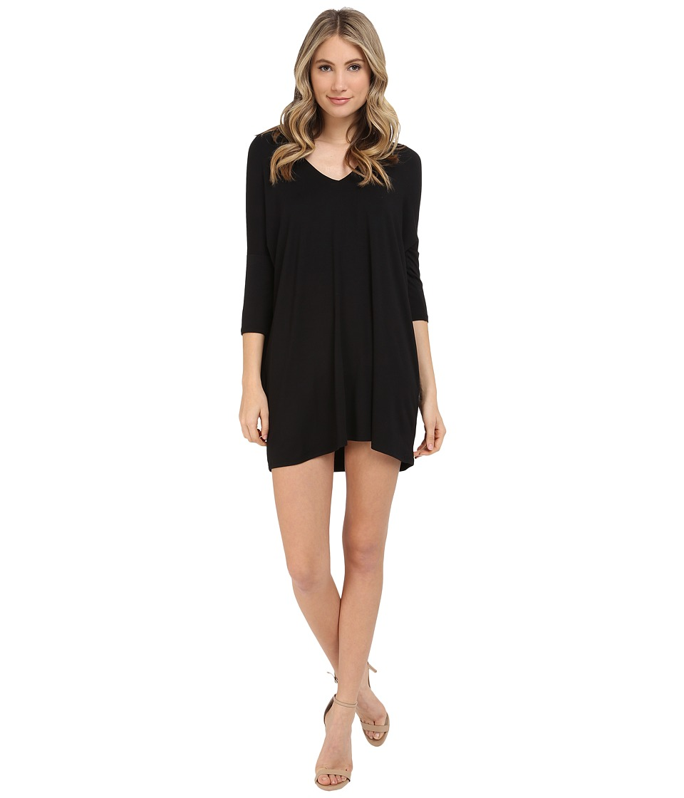 Michael Stars - 3/4 Sleeve V-Neck Dress (Black) Women's Dress
