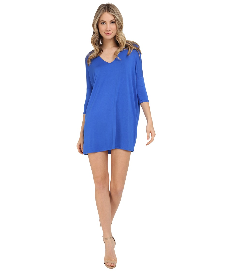 Michael Stars 3/4 Sleeve V-Neck Dress (Cobalt) Women