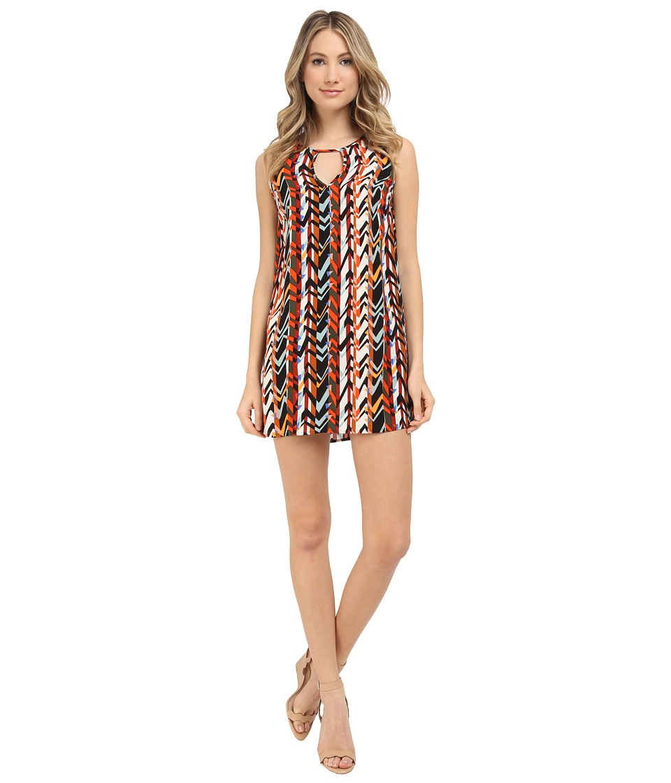 Michael Stars Barcelona Crepe Print Tank Dress (Tomato) Women