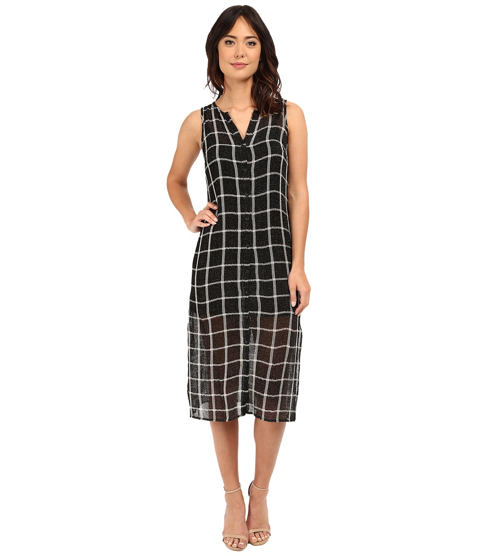 Michael Stars Plaid Mesh Button Down Midi Dress (Black/Chalk) Women