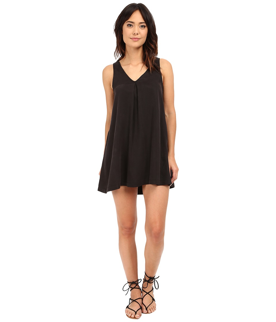 Michael Stars Tencel Tank V-Neck Dress w/ Pockets (Black) Women