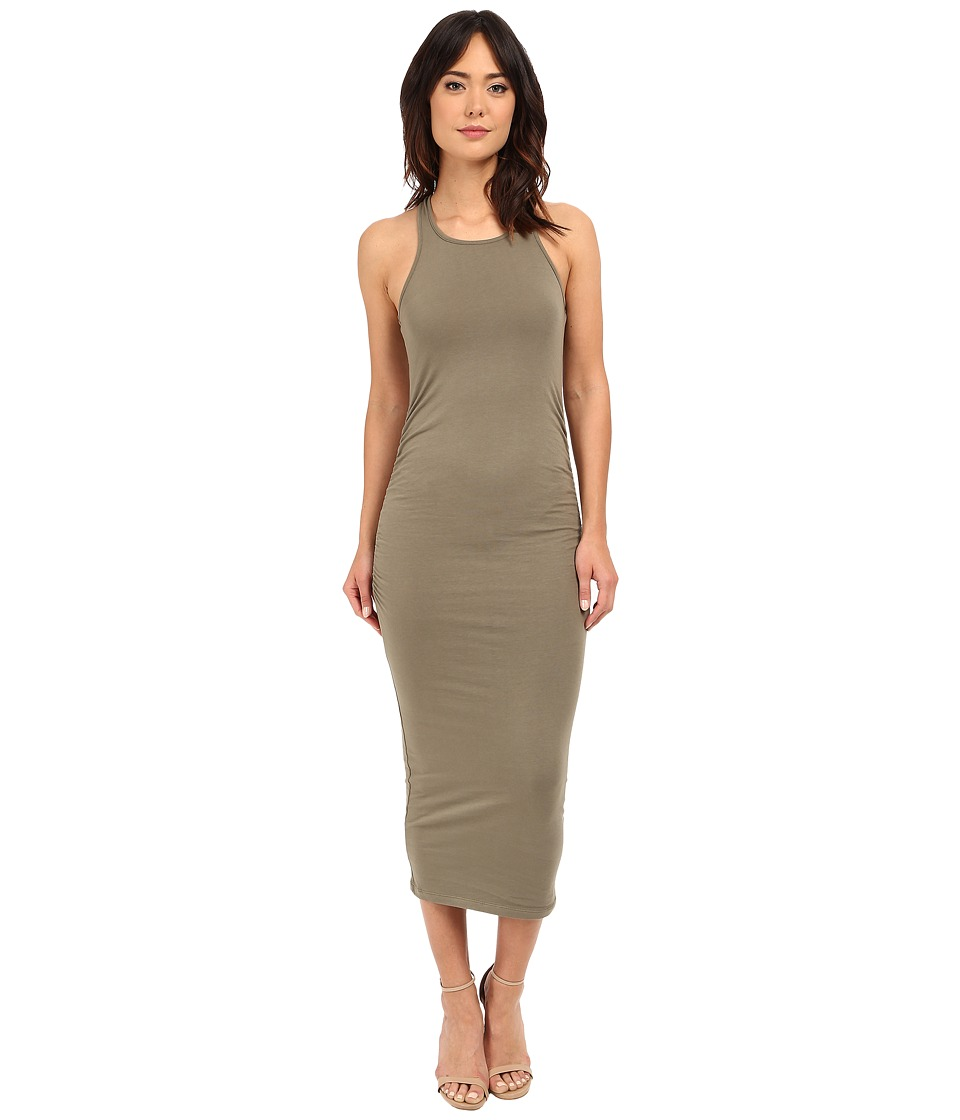 Michael Stars Racerback Dress w/ Shirring (Olive Moss) Women