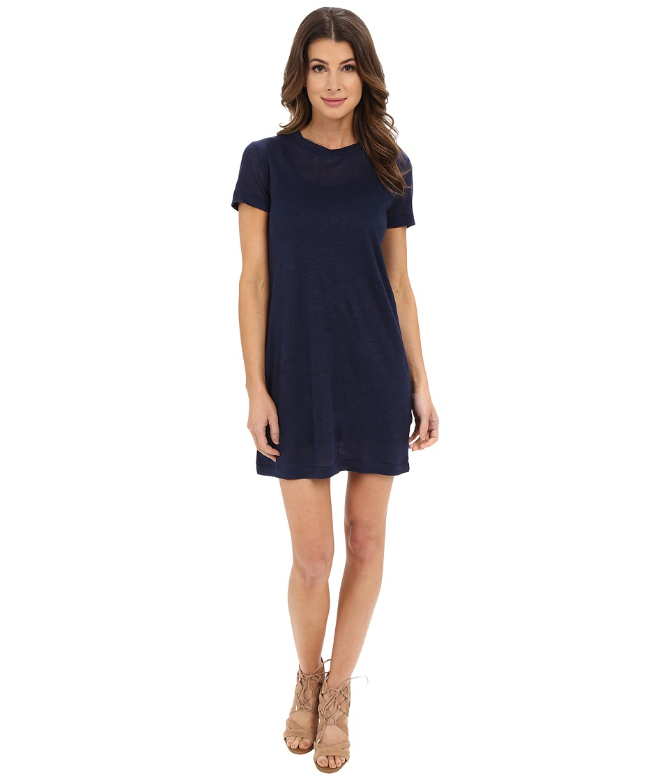 Michael Stars Linen Knit Short Sleeve Tee Dress w/ Slip (Nocturnal) Women