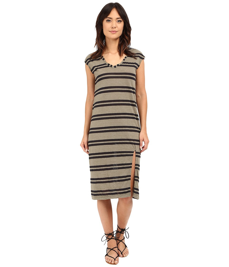 Michael Stars Montauk Stripe Midi Dress w/ Slit (Olive Moss) Women