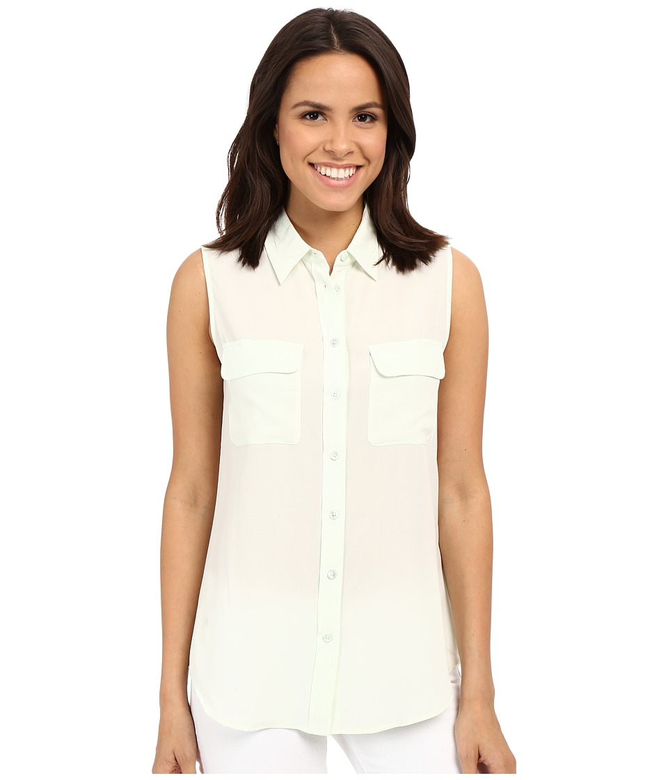 EQUIPMENT - Sleeveless Slim Signature Top (White Jade) Women's Sleeveless
