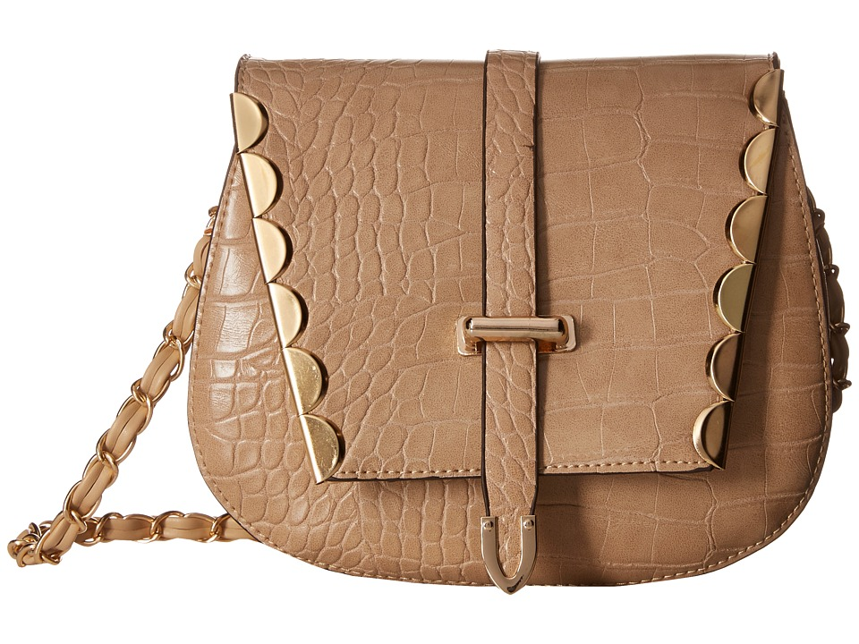 Gabriella Rocha - Ashlyn Crocodile Purse with Gold Embellishments (Beige) Handbags