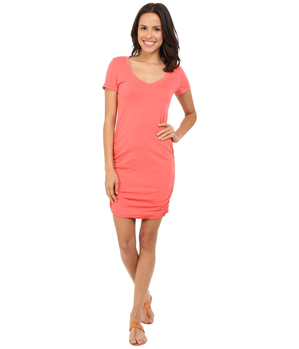 Michael Stars - Short Sleeve V-Neck Rouched Mini Dress (Sea Lily) Women's Dress