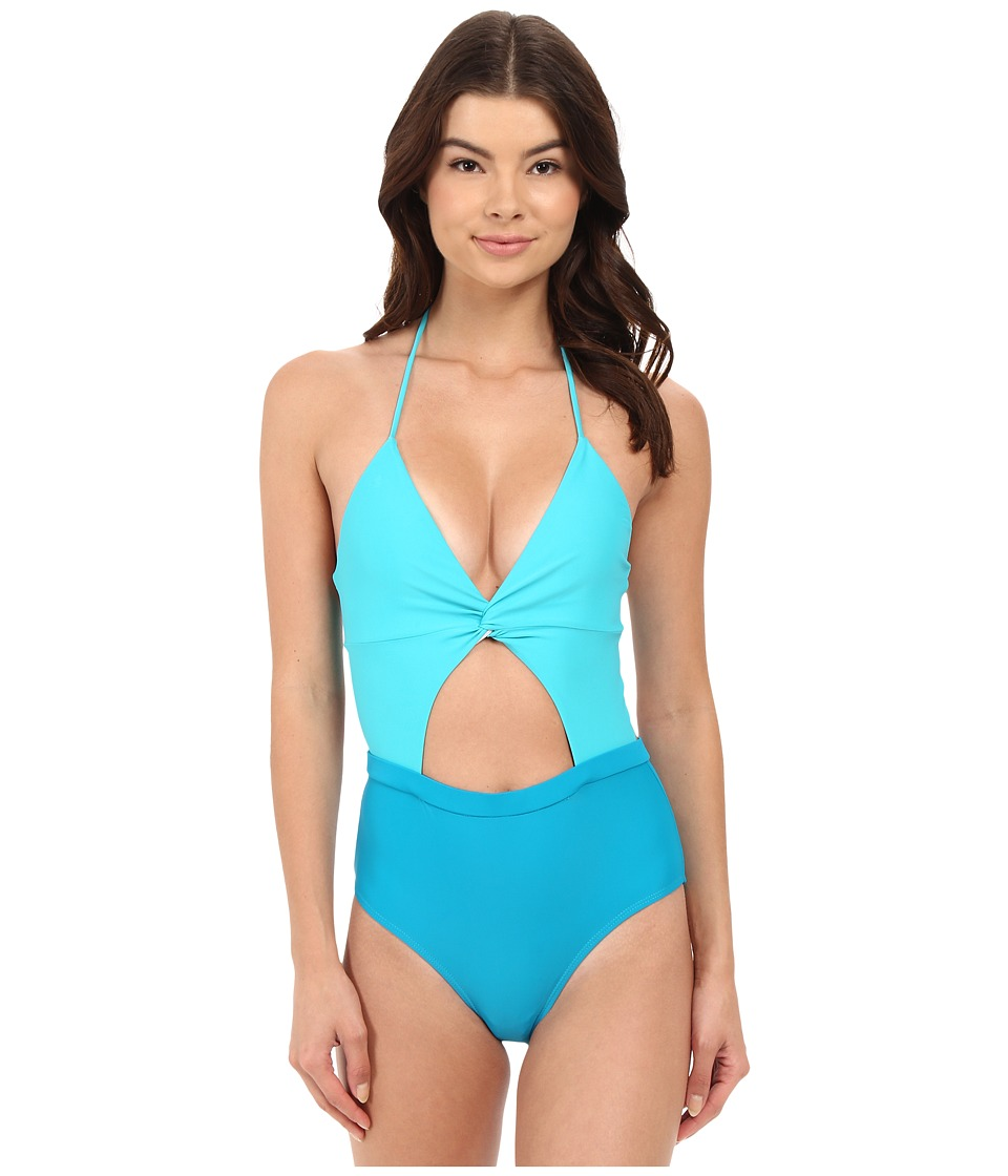 6 Shore Road by Pooja - Coco Floral Divine One-Piece (Teal) Women's Swimsuits One Piece