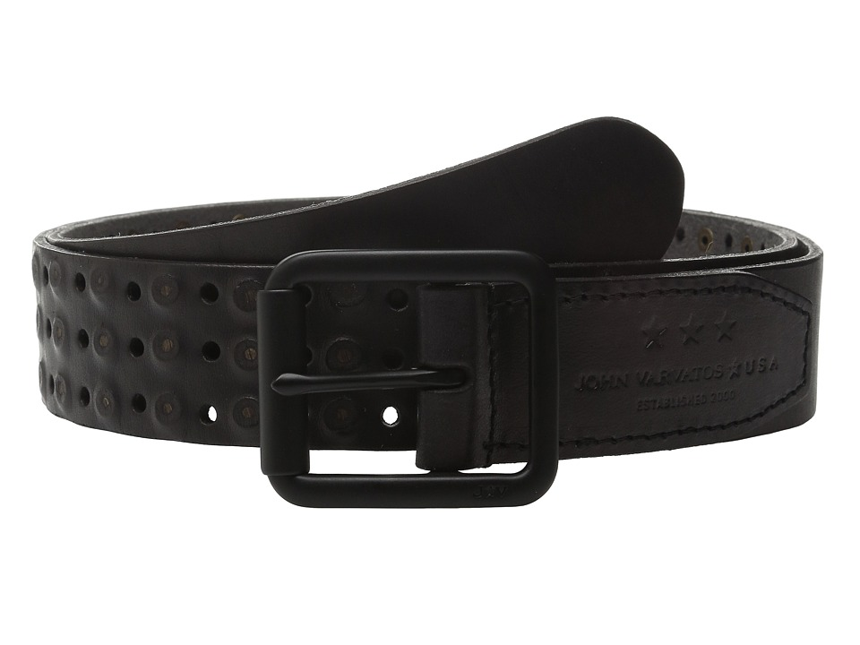 John Varvatos Star U.S.A. - 38mm Roller Center Bar Studded Belt (Black) Men's Belts