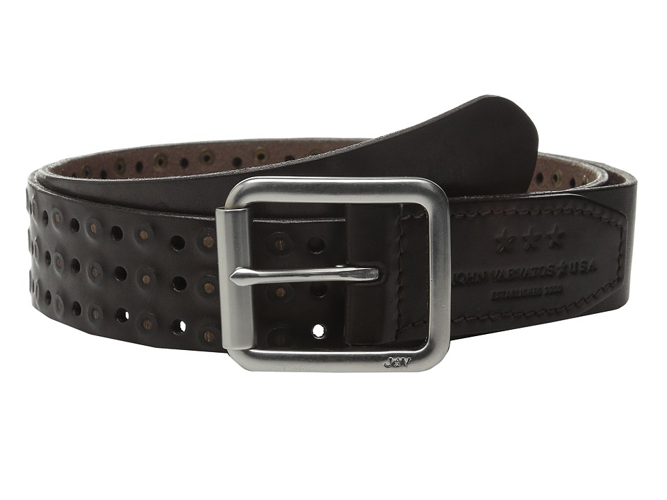 John Varvatos 38mm Roller Center Bar Studded Belt (Dark Brown) Men