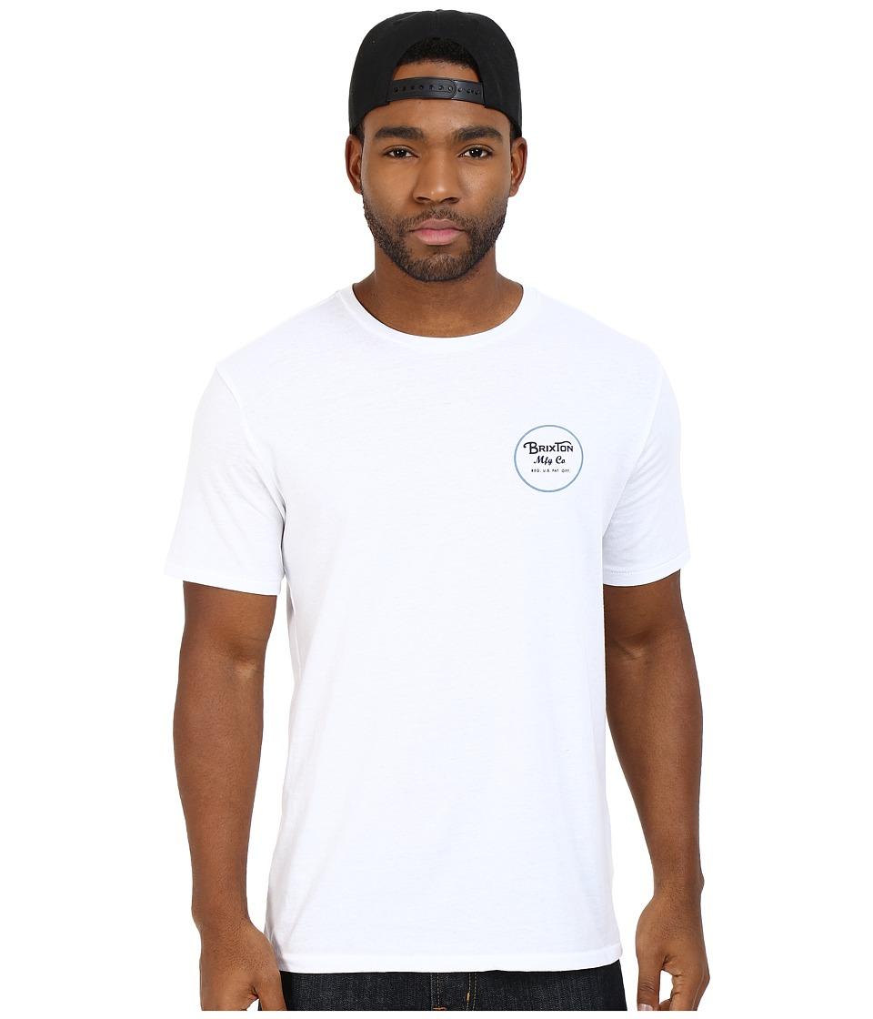 Brixton - Wheeler Short Sleeve Prem Tee (White/Blue) Men's T Shirt