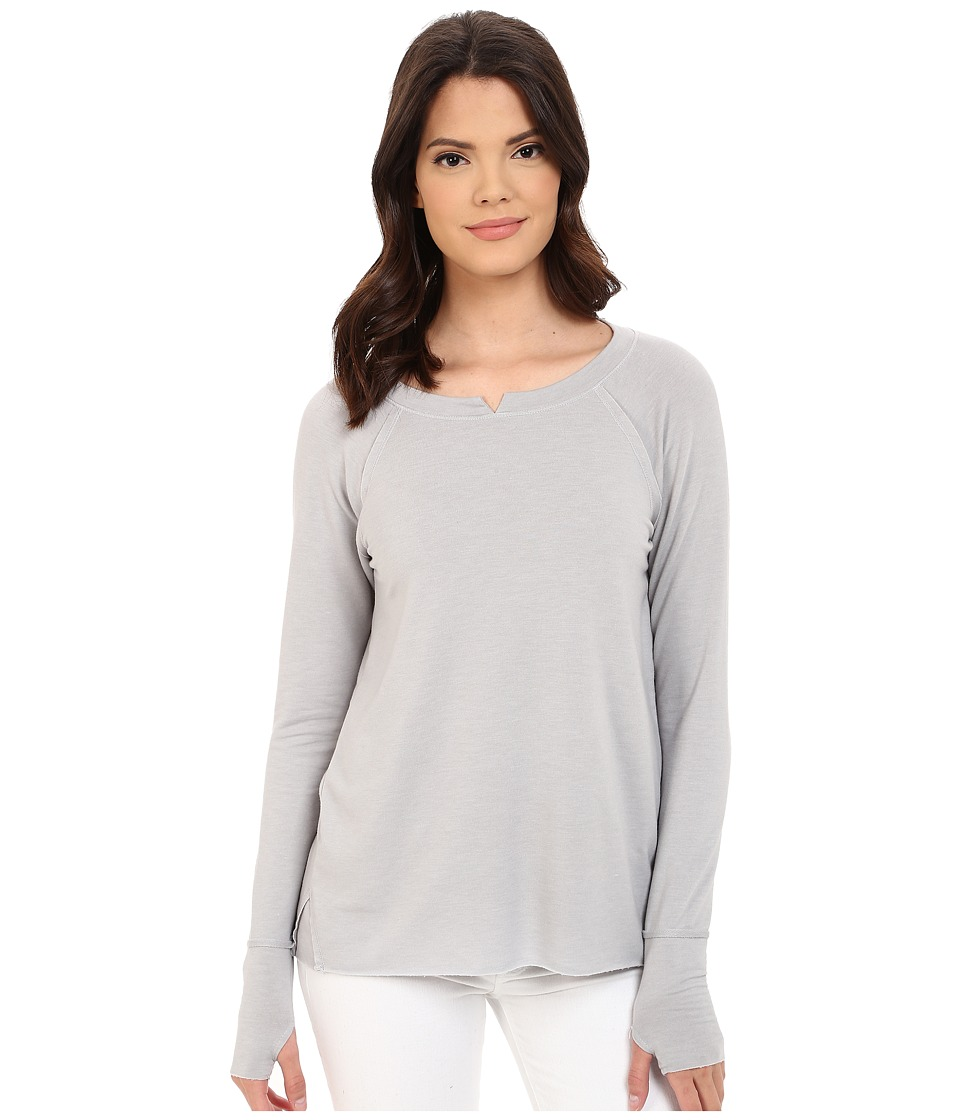 Michael Stars - French Terry Long Sleeve Hi Low with Thumbholes (Oyster) Women's T Shirt
