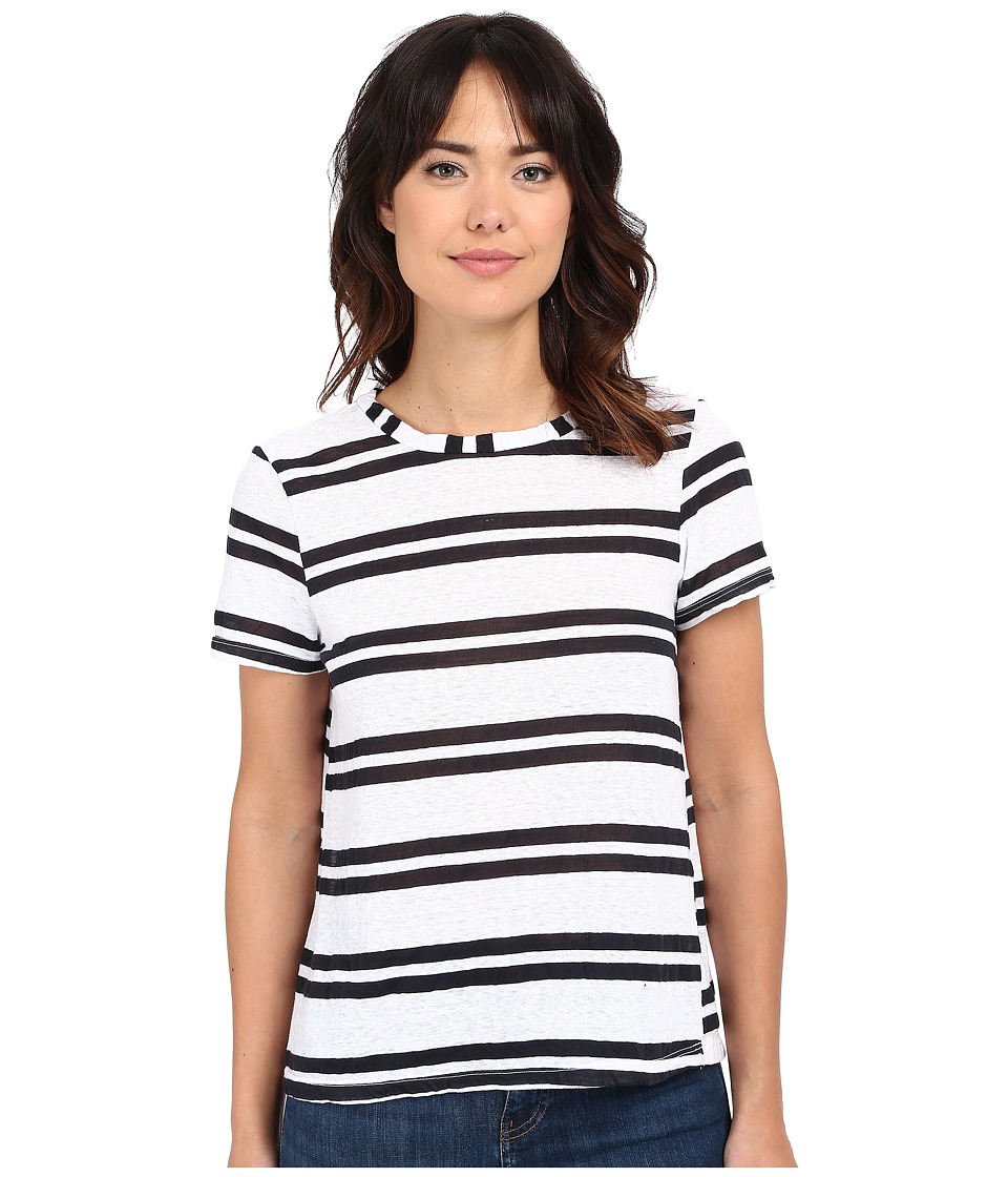 Michael Stars - Montauk Stripe Short Sleeve Crew Neck (White) Women's Clothing