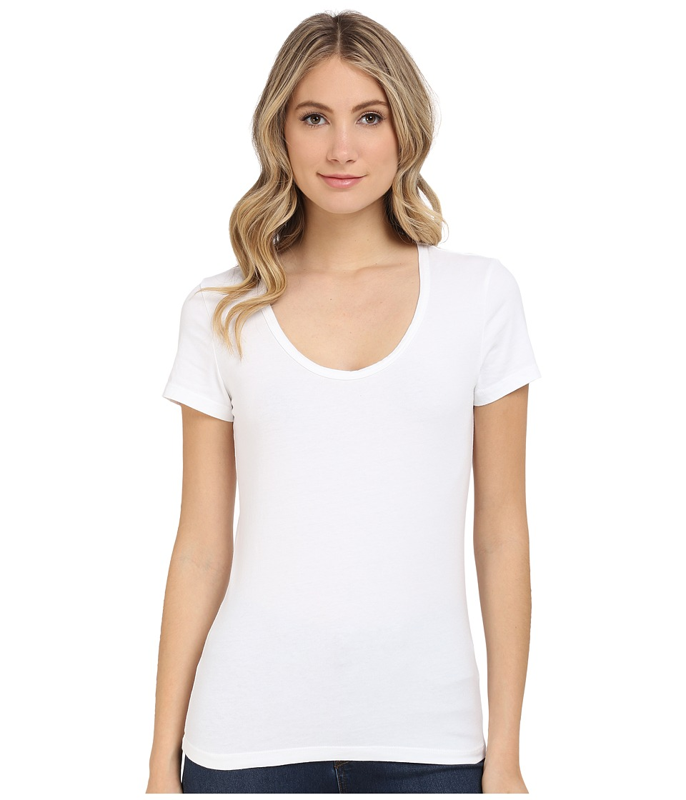 Michael Stars - Cotton Lycra Short Sleeve Scoop Neck (White) Women's Clothing