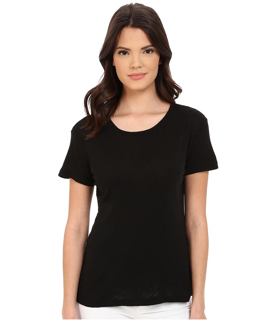 Michael Stars - Slub Short Sleeve Crew Neck (Black) Women's Clothing