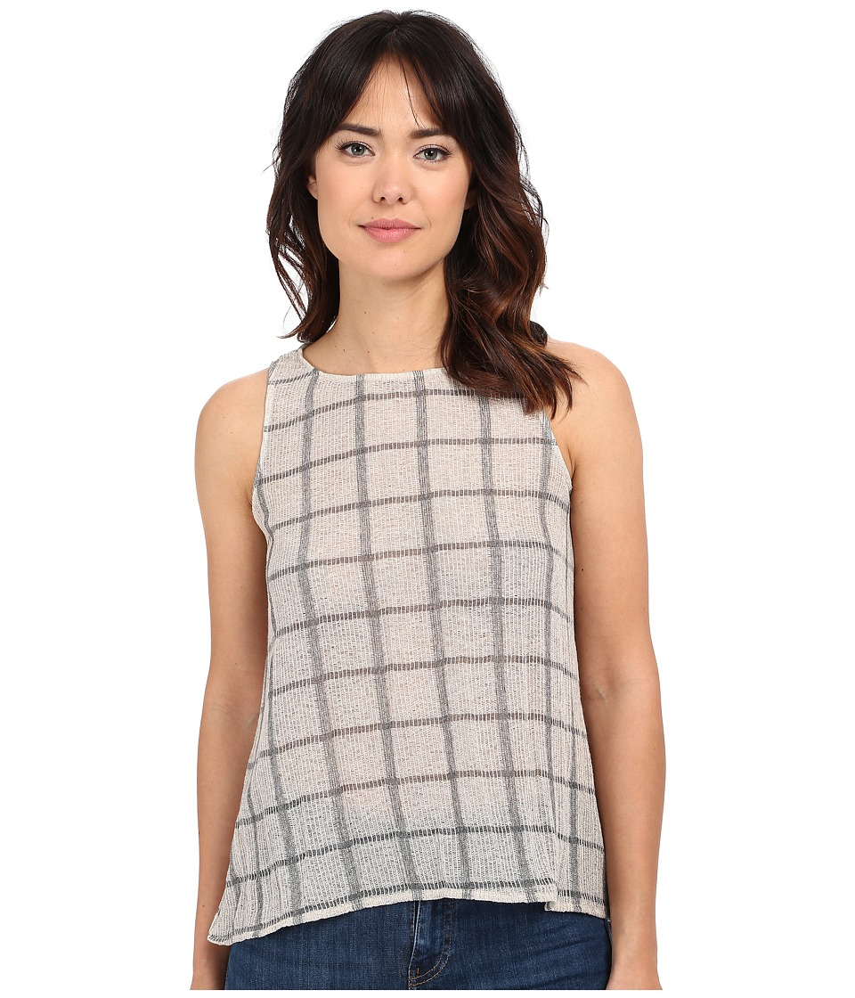 Michael Stars Plaid Mesh Sleeveless Top w/ Split Back (Chalk/Oxide) Women