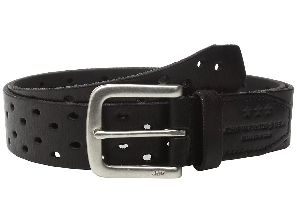 John Varvatos - 38mm Harness Perforated Veg Belt (Black) Men's Belts