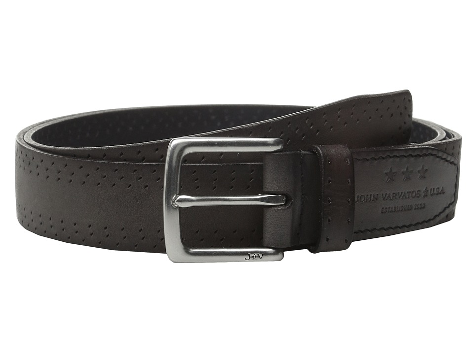 John Varvatos - 35mm Harness Perf Edge Belt (Elephant) Men