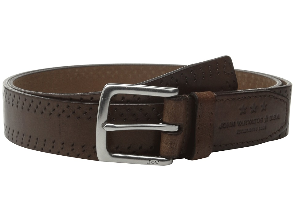 John Varvatos - 35mm Harness Perf Edge Belt (Cognac) Men's Belts