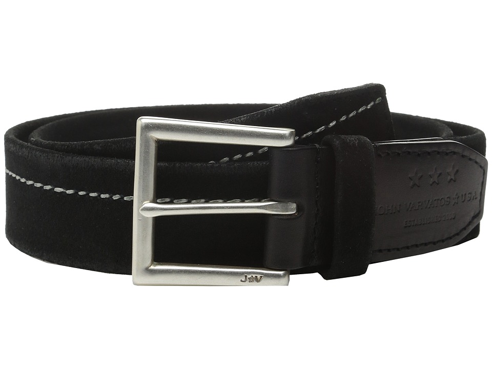 John Varvatos - 40mm Harness Brooklyn Stitched Belt (Black) Men's Belts