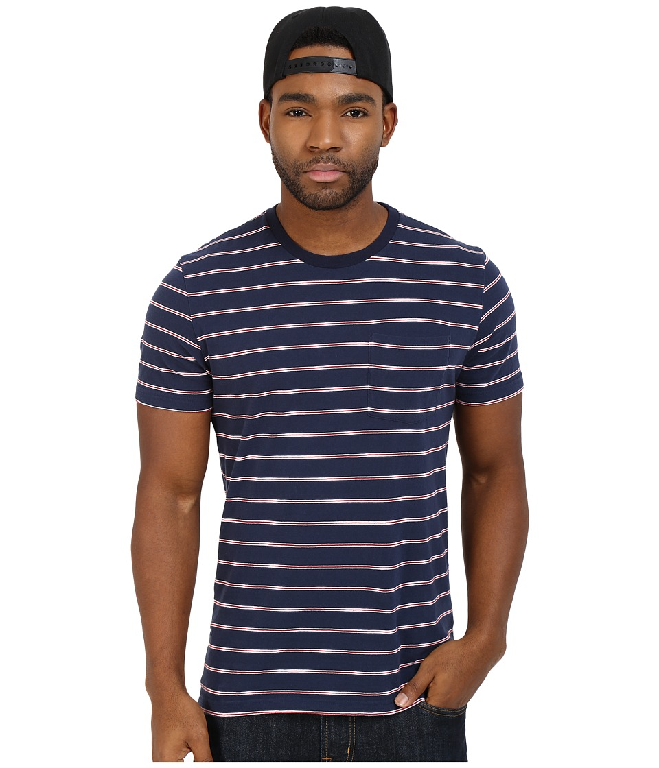 Brixton - Hilt S/S Pocket Knit (White/Navy/Red) Men's Short Sleeve Pullover