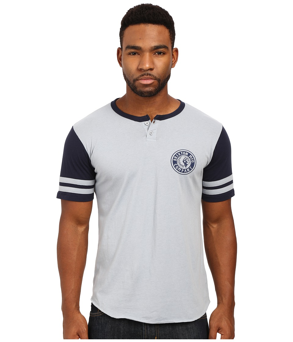 Brixton - Rival Short Sleeve Henley (Light Blue/Navy) Men's Short Sleeve Pullover