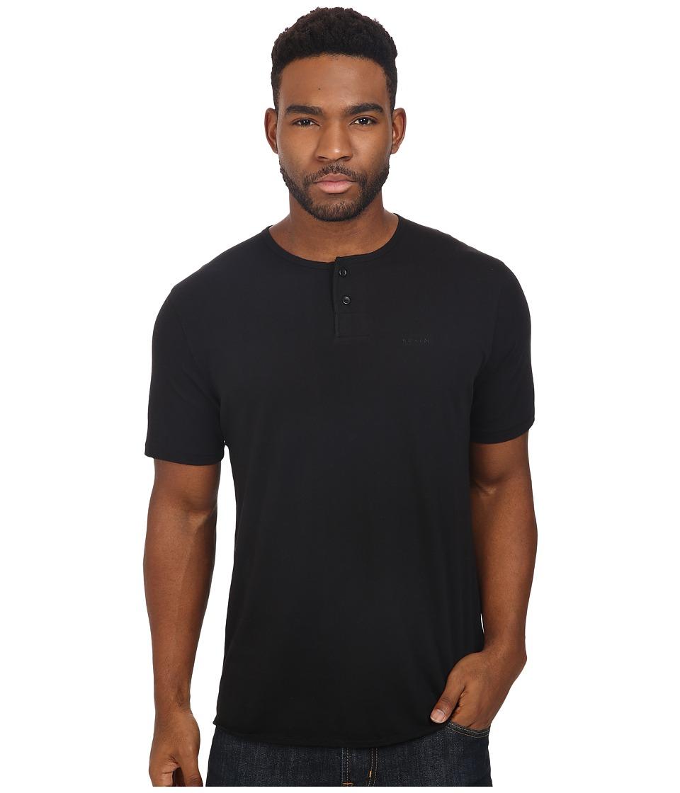 Brixton - Berkeley Short Sleeve Henley (Black) Men's Short Sleeve Pullover