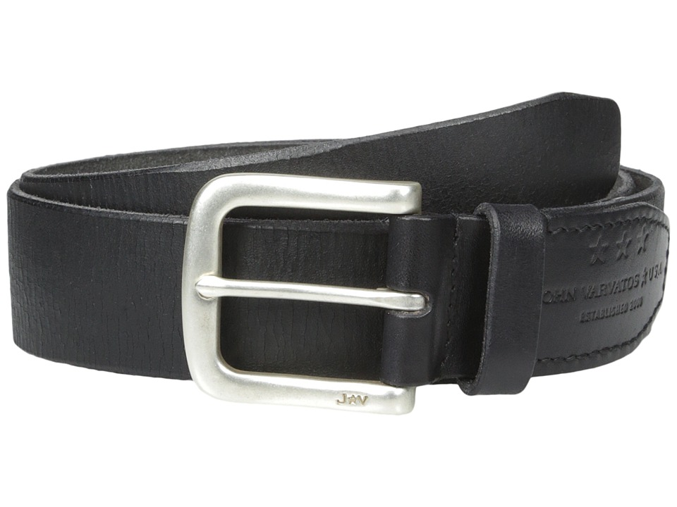John Varvatos - 38mm Harness Textured Leather Belt (Black) Men