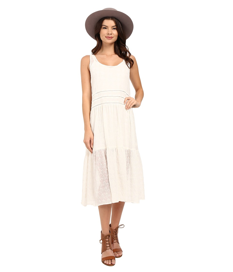 BB Dakota Clara Embroidered Chiffon Trapeze Dress with Slip (Antique Ivory) Women