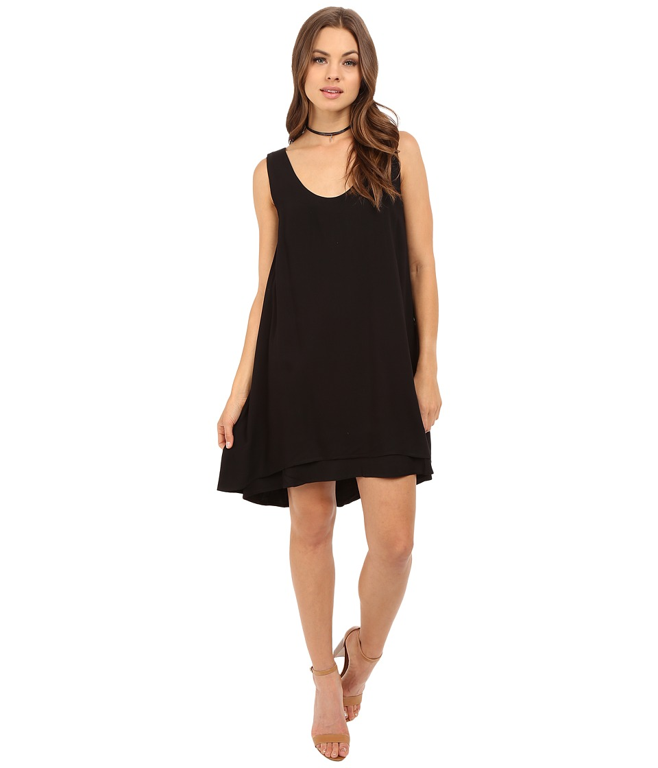 BB Dakota Henley Rayon Twill Double Layer Dress (Black) Women