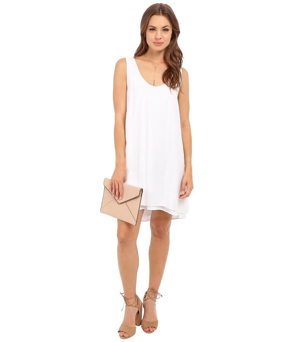 BB Dakota Henley Rayon Twill Double Layer Dress (Optic White) Women