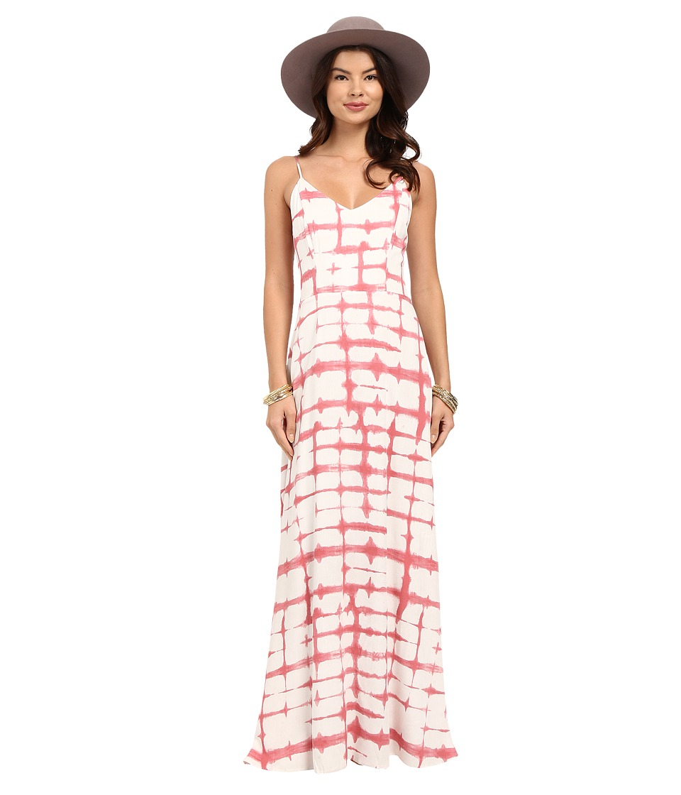 BB Dakota - Finnley Pink Plaid Printed Heavy Rayon Maxi Dress (Dirty White) Women's Dress