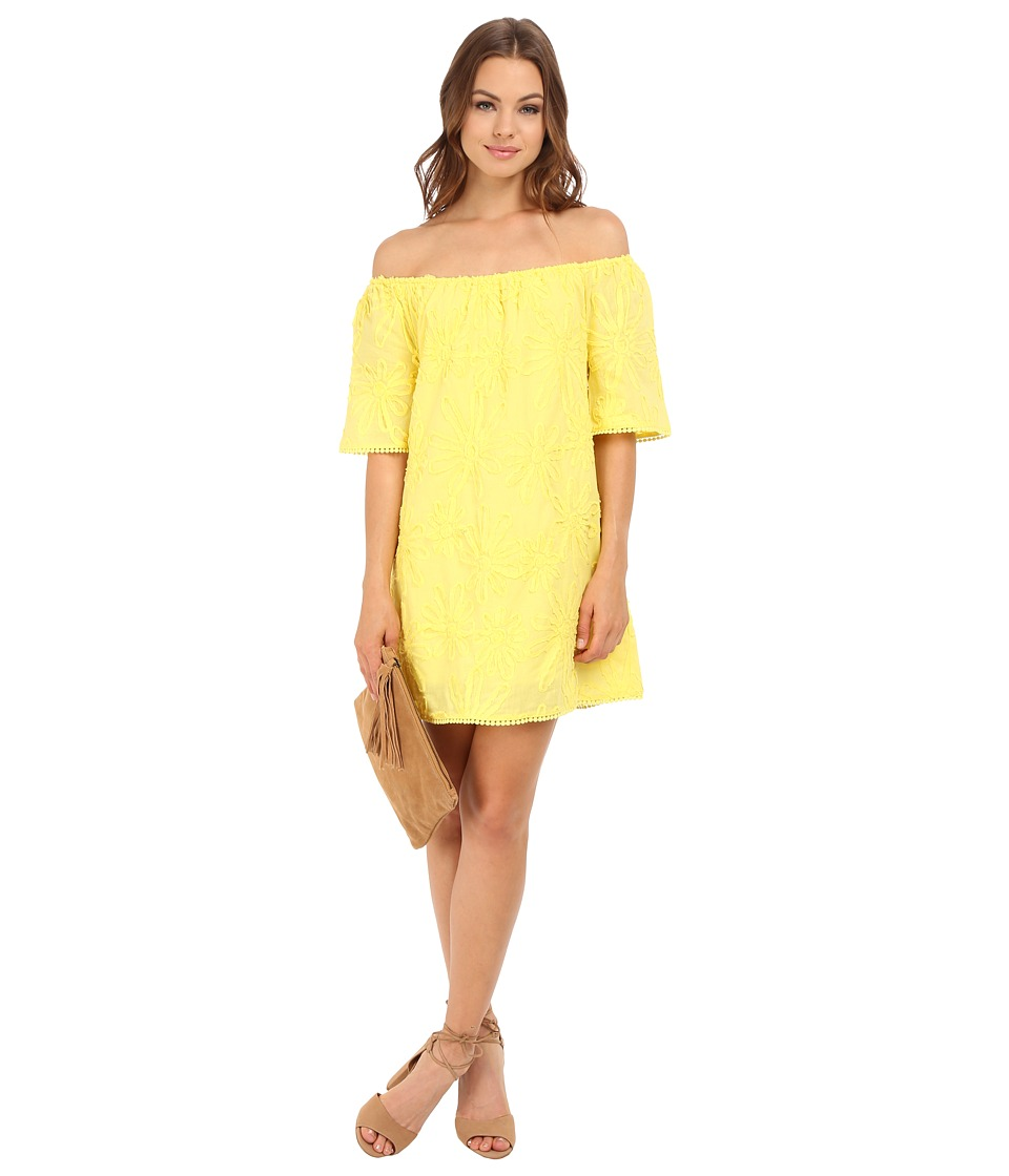 BB Dakota - Marine Floral Gauze Off the Shoulder Dress (Yellow) Women's Dress