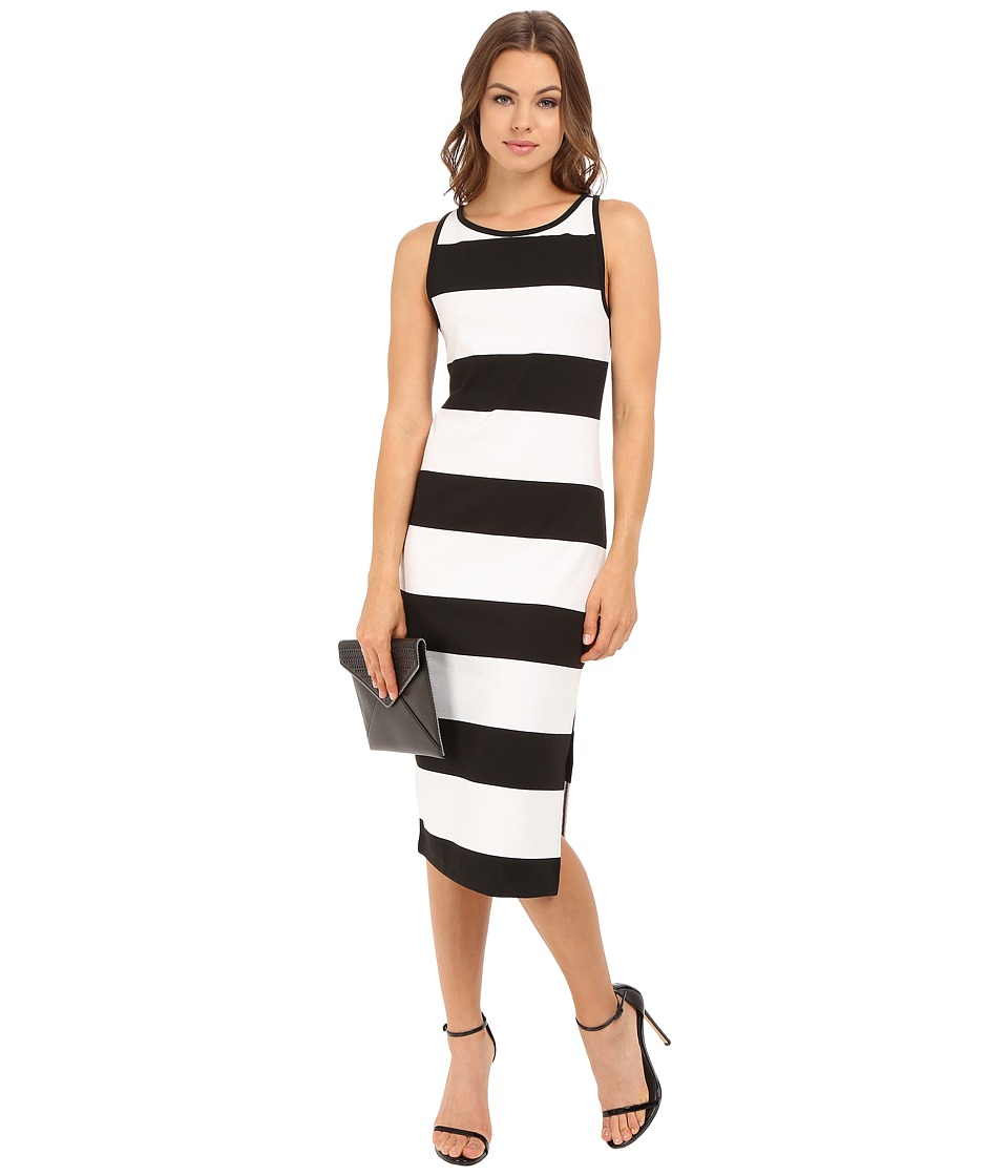 BB Dakota - Francesca Striped Ponte Midi Dress (Black/White) Women's Dress