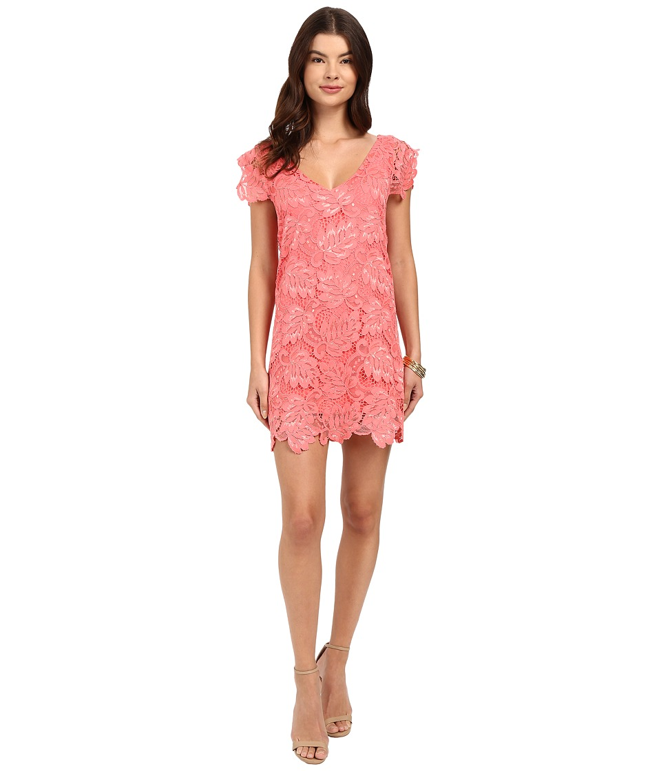 BB Dakota - Jacqueline Scallop Lace V-Neck Dress (Coral) Women's Dress