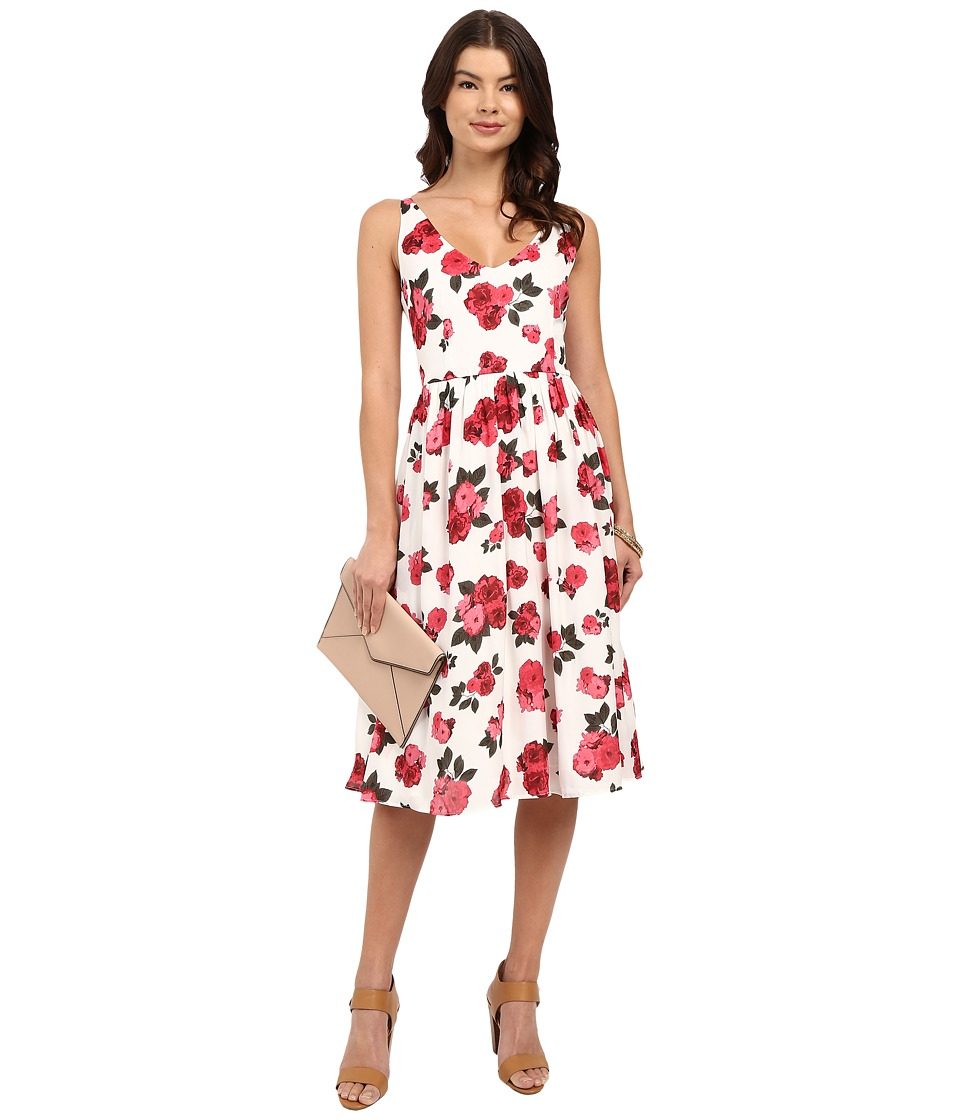 BB Dakota - Claudia Summer Rose Printed Reverse Crepon Midi Dress (Ivory) Women's Dress