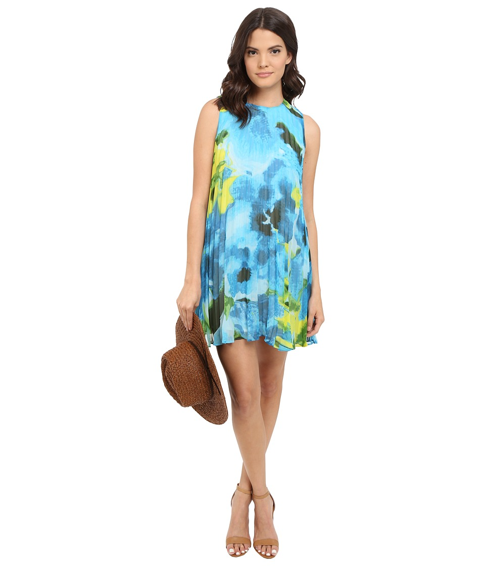 BB Dakota Courtney Large Floral Printed Chiffon Pleated Dress (Sea Blue) Women