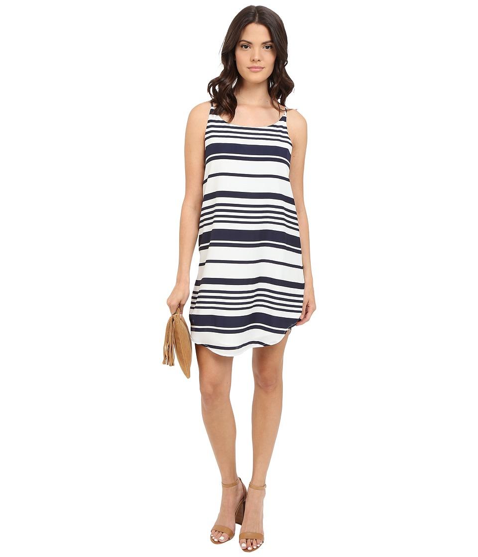 BB Dakota - Riley Striped Crepon Dress (Navy) Women's Dress