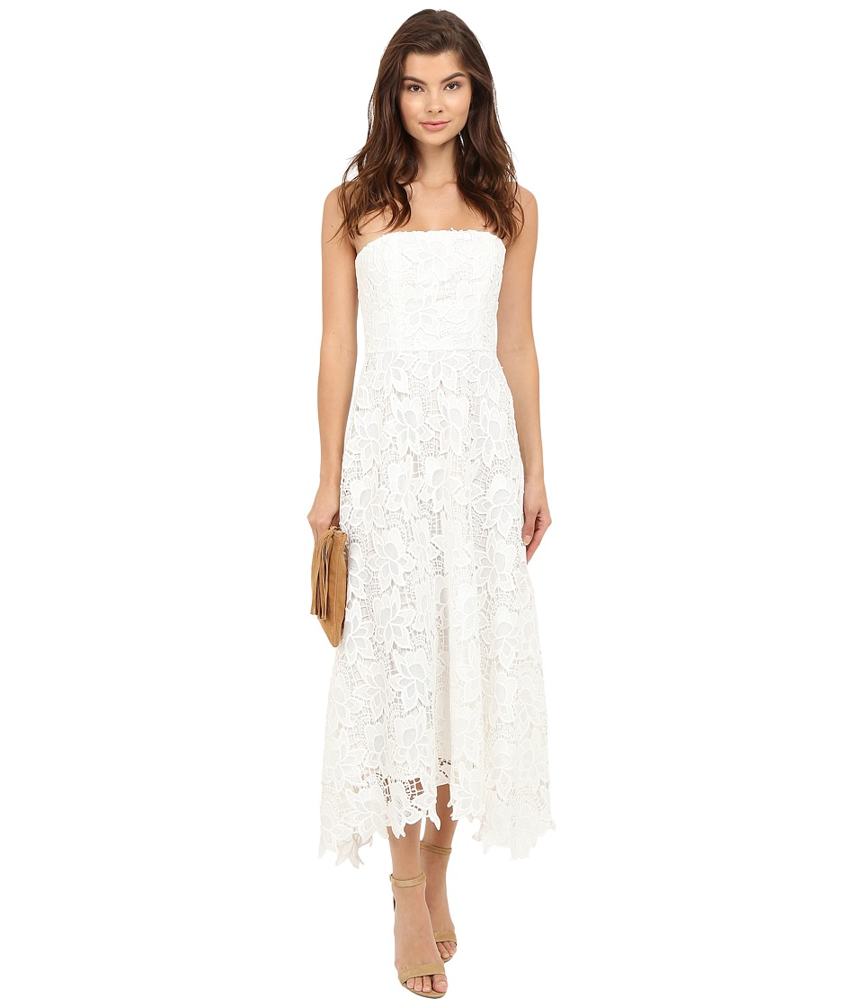 BB Dakota - Eleanor Strapless Lace Midi Dress (White) Women's Dress