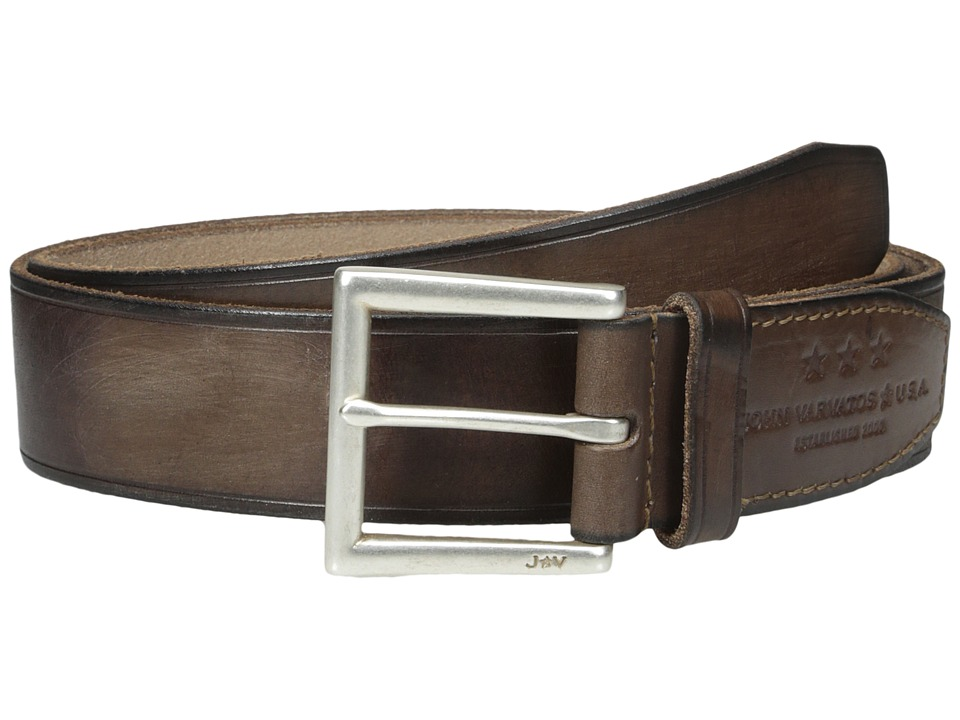 John Varvatos 40mm Harness Leather Belt w/ Heat Crease (Chocolate) Men