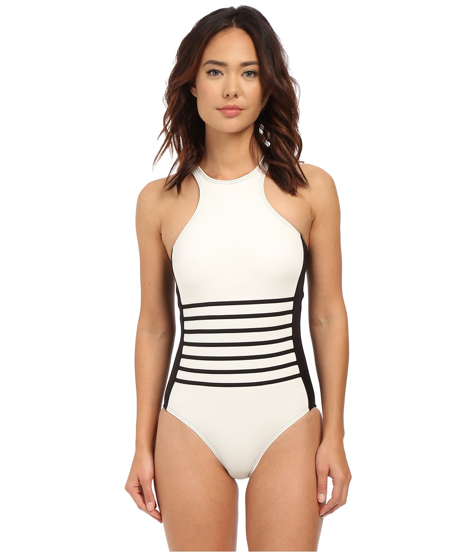 DKNY - A Lister Racer Front Maillot w/ Stripping Detail Removable Soft Cups (Black) Women's Swimsuits One Piece