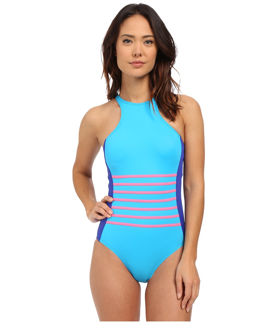 DKNY - A Lister Racer Front Maillot w/ Stripping Detail Removable Soft Cups (Electric) Women's Swimsuits One Piece