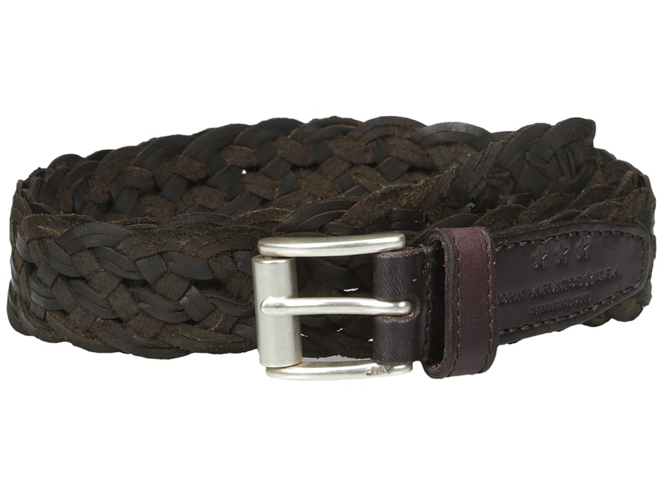 John Varvatos - 25mm Roller Harness Braided Leather Belt (Chocolate) Men's Belts