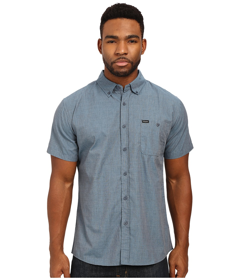 Brixton - Central S/S Woven (Heather Steel) Men's Short Sleeve Button Up