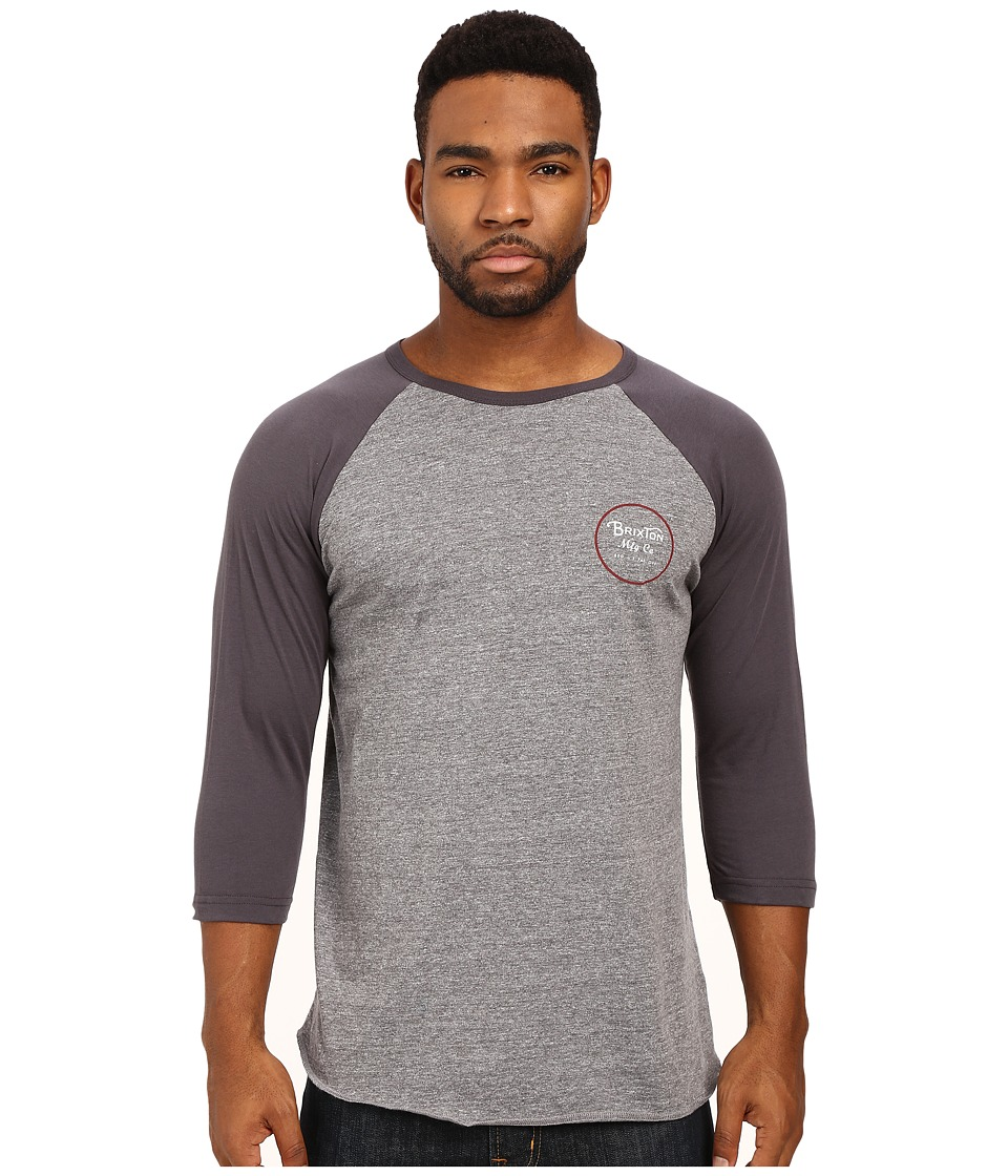 Brixton - Wheeler 3/4 Sleeve Tee (Heather Grey/Blue) Men's Long Sleeve Pullover