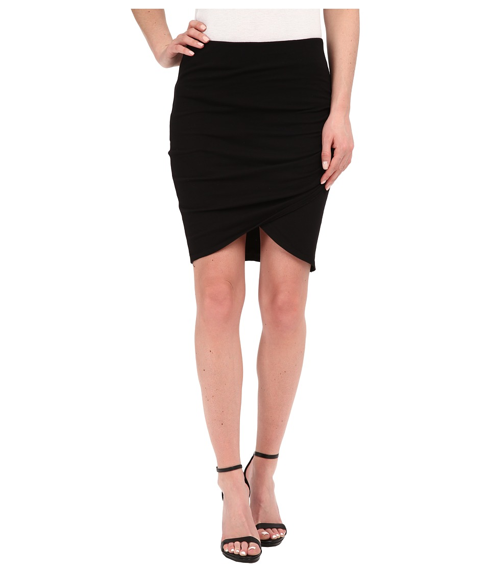 Michael Stars - Cotton Lycra Cross Front Mini Skirt (Black) Women's Skirt