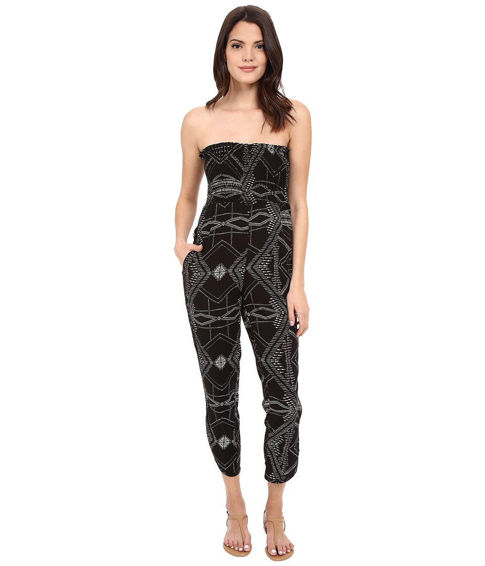 Michael Stars - Alameda Print Smocked Jumpsuit (Black) Women's Jumpsuit & Rompers One Piece